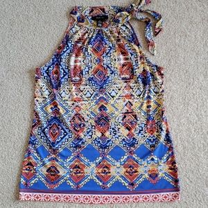 Style & co blue and orange printed halter top euc